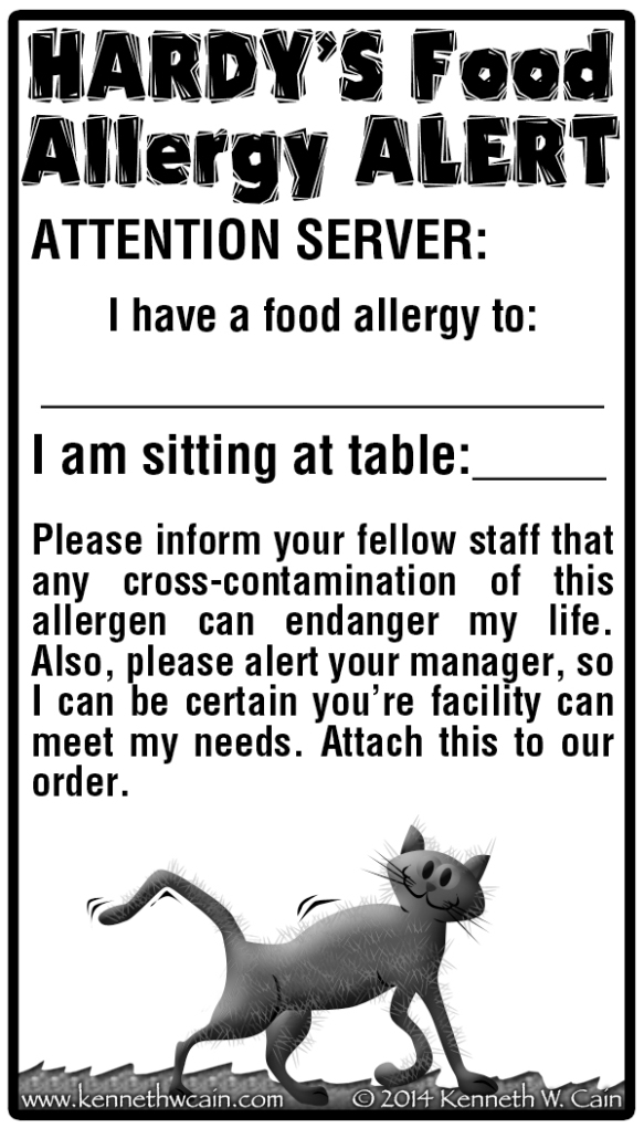 Hardys Food Allergy Card
